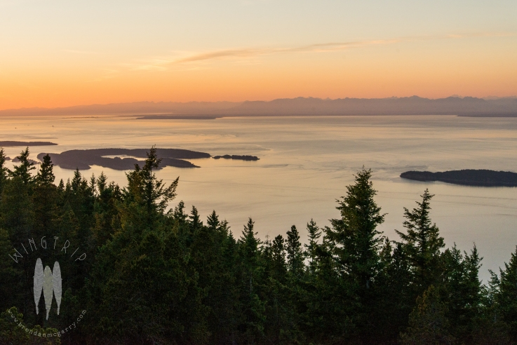Sunset from Mt. Constitution looking north to Sucia and Matia Islands and the Coast Range of British Columbia.